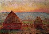 Claude Monet Grainstacks_ Sunset painting