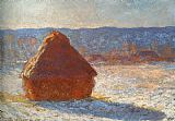 Claude Monet Haystack snow effect painting