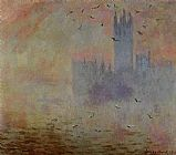 Claude Monet Houses of Parliament Seagulls painting