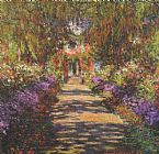 Church paintings - Main Path through the Garden at Giverny by Claude Monet