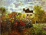 an evening rose garden Framed Prints - Monet's Garden at argenteuil