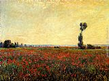 Poppies paintings - Poppy Landscape by Claude Monet