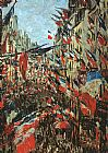 Street paintings - Rue Montargueil with Flags by Claude Monet