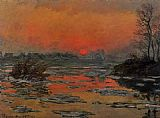 Claude Monet Sunset on the Seine in Winter painting