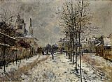 Claude Monet The Boulevard de Pontoise at Argenteuil Snow Effect painting