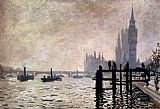 Church paintings - The Thames And The Houses Of Parliament by Claude Monet