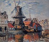 Claude Monet The Windmill on the Onbekende Canal Amsterdam painting