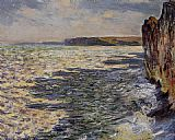 Claude Monet Waves and Rocks at Pourville painting