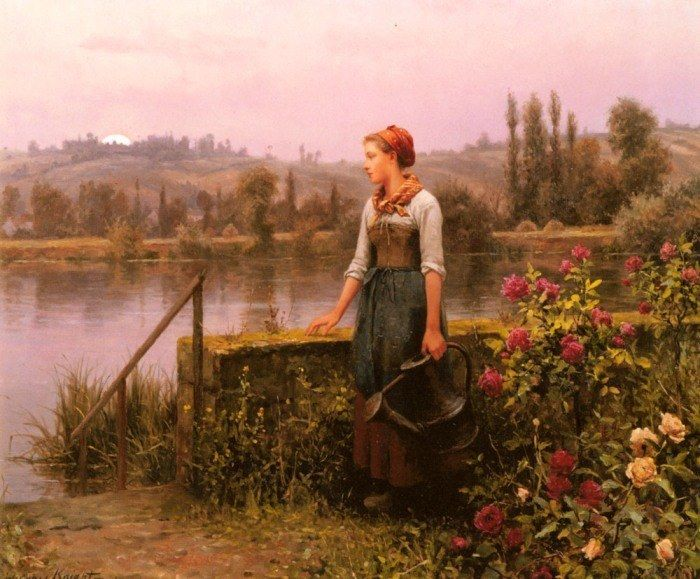 Daniel Ridgway Knight A Woman with a Watering Can by the River