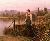 Daniel Ridgway Knight A Woman with a Watering Can by the River painting