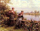 Daniel Ridgway Knight Maria And Madeleine Fishing painting