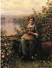 Daniel Ridgway Knight Mending painting