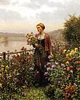 Daniel Ridgway Knight Woman in a Garden painting