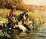 Daniel Ridgway Knight Women Washing Clothes by a Stream painting