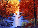 David Lloyd Glover Lake Mist in Autumn painting