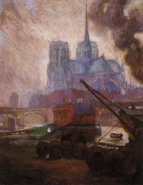 Diego Rivera Notre Dame de Paris in the Rain