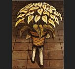 Diego Rivera Man Carrying Calla Lilies painting