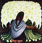 Diego Rivera The Flower Seller, (Vendedora De Alcatraces) 1942 painting