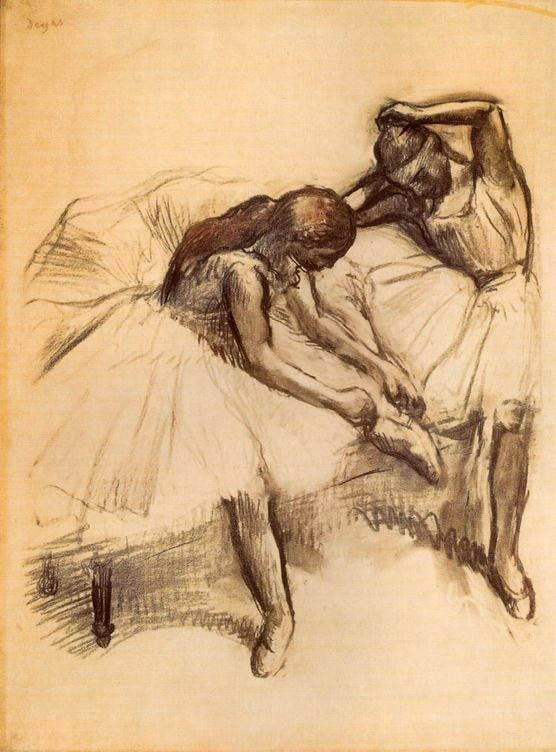 Edgar Degas Two Dancers V