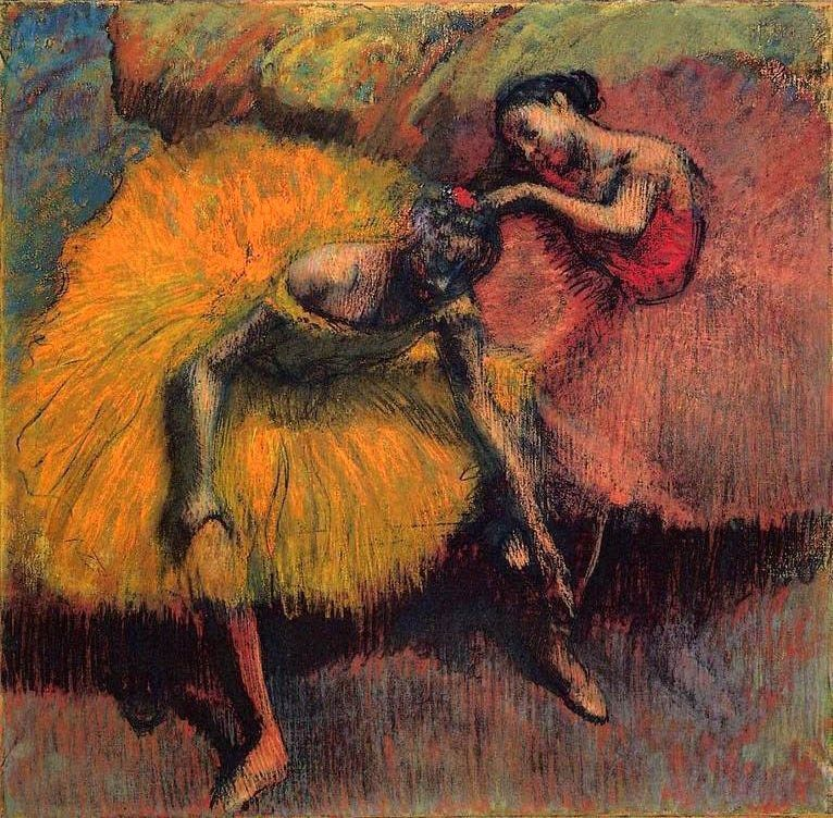 Edgar Degas Two Dancers in Yellow and Pink