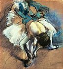 Edgar Degas Dancer Fastening her Pump painting
