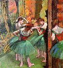 Edgar Degas Dancers, Pink and Green painting