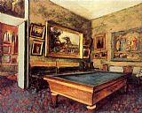 Edgar Degas The Billiard Room at Menil-Hubert painting