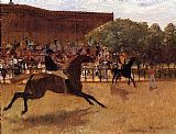 Horse Racing paintings - The False Start by Edgar Degas