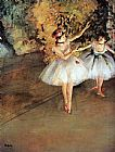 Edgar Degas Two Dancers on a Stage painting