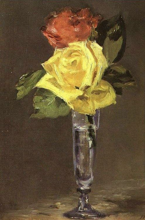 Edouard Manet Roses in a Champagne Glass