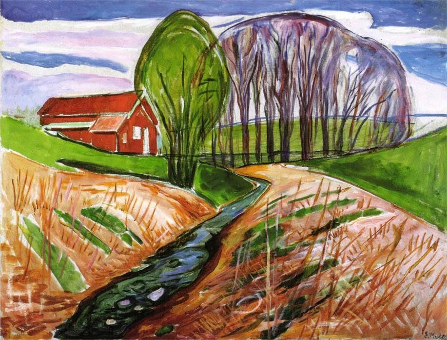 Edvard Munch Spring landscape at the red house 1935