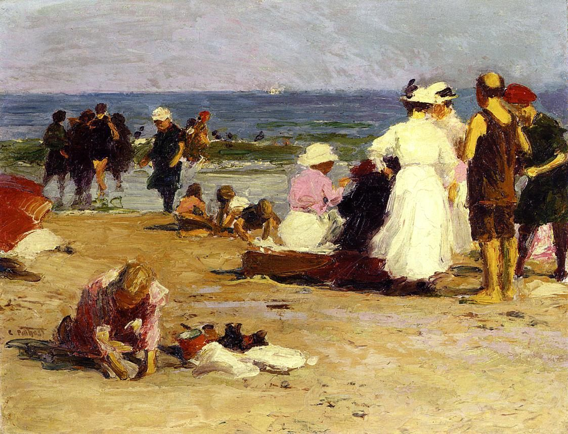 Edward Henry Potthast Bathers in the Surf
