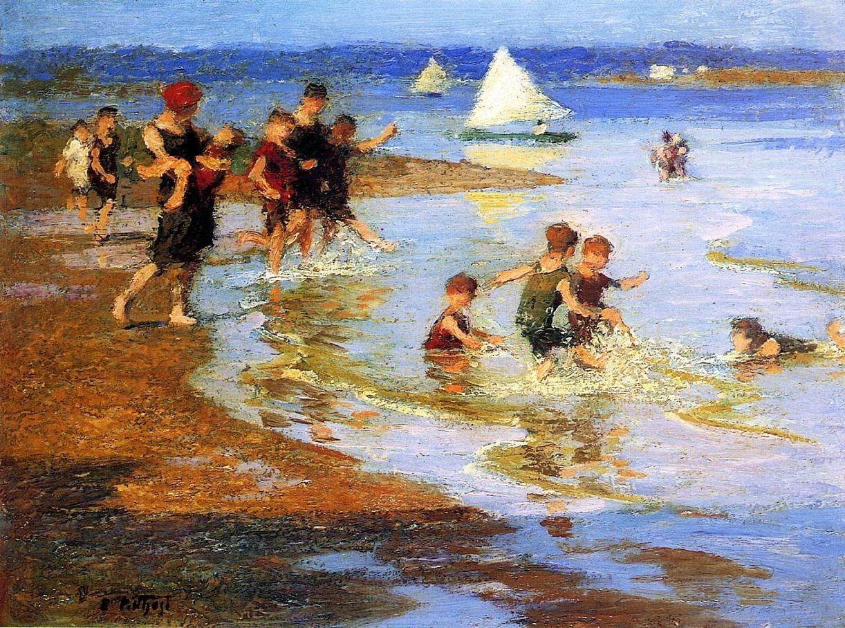 Edward Henry Potthast Children at Play on the Beach