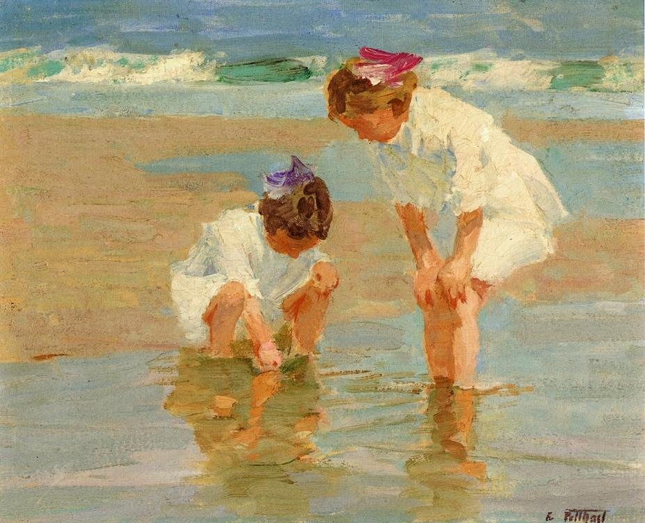 Edward Henry Potthast Girls Playing in Surf