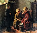 Edward Henry Potthast Blowing Bubbles painting
