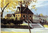 Edward Hopper Small Town Station painting