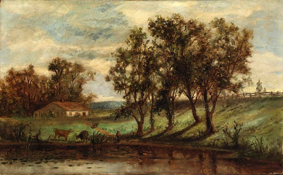 Edward Mitchell Bannister man with cows grazing near pond with house and trees in background