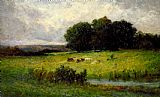 Edward Mitchell Bannister Bright Scene of Cattle near Stream painting