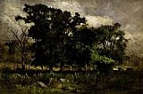 Edward Mitchell Bannister Tree Landscape painting