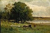 Edward Mitchell Bannister cattle near river with sailboat in distance painting