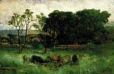 Edward Mitchell Bannister five cows in pasture painting