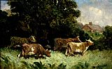 Edward Mitchell Bannister five cows in pasture, rooftop in background painting