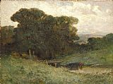 Edward Mitchell Bannister forest scene with bridge, cows in stream in foreground painting