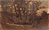 Edward Mitchell Bannister forest scene, fallen tree in foreground and house in background painting