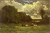 Edward Mitchell Bannister landscape with cows and trees painting