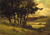 Edward Mitchell Bannister landscape with cows grazing near river painting
