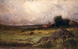 Edward Mitchell Bannister landscape with rock in foreground and roof with steeple, lake in background painting