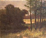 Edward Mitchell Bannister landscape with trees and woman painting