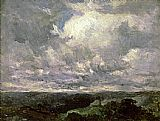 Edward Mitchell Bannister landscape, cloudy sky painting