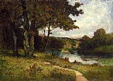 Edward Mitchell Bannister landscape, trees near river painting